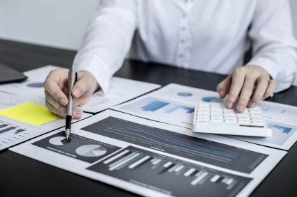 Business charts - printed on the desk