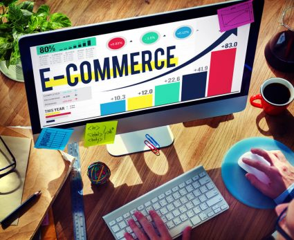E-commerce chart, statistics and insight on the computer screen